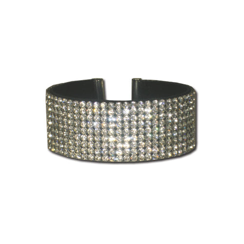 9 Row Clear Swarovski Crystal Dog Collar - Bark Label