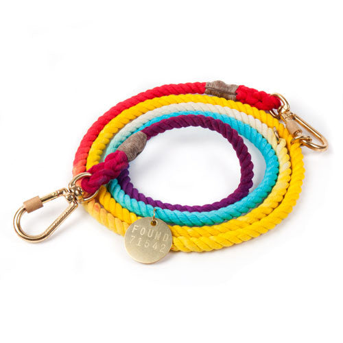 Rainbow Ombre Adjustable Rope Dog Leash - Bark Label