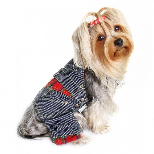 Adorable Stripy Denim Dog Overall - Bark Label