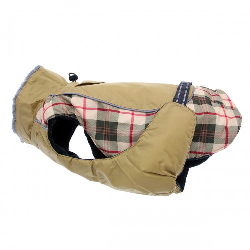 Beige Plaid Alpine All Weather Dog Coat - Bark Label