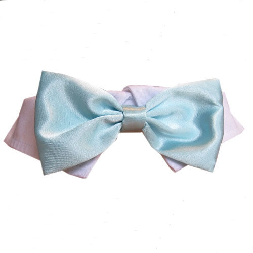 Aqua Satin Dog Bow Tie Collar - Bark Label