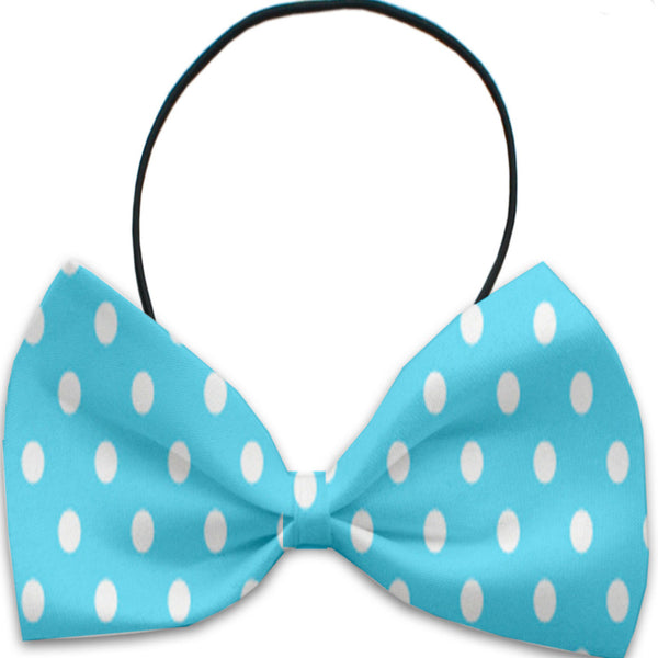 Aqua Polka Dots Dog Bow Tie