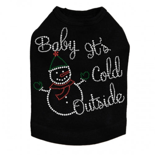 Baby It's Cold Outside Rhinestone Dog Tank - Bark Label