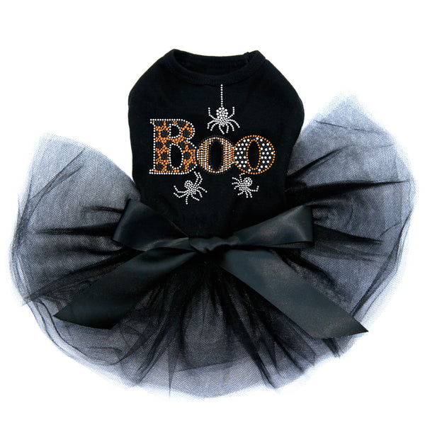 Boo With Silver Spiders Rhinestone Tutu Dog Dress - Bark Label