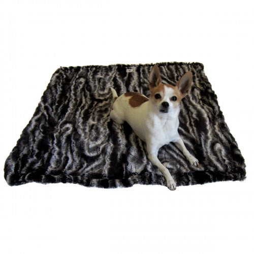 Black And Cream Marble Faux Fur Dog Blanket - Bark Label