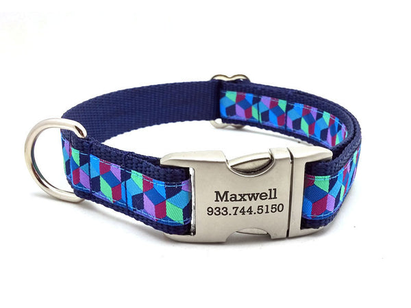 3D BLOCKS Dog Collar with Laser Engraved Personalized Buckle - BLUE - Flying Dog Collars