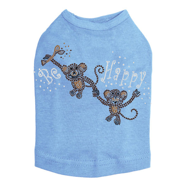 Be Happy Rhinestud Dog Tank - Bark Label