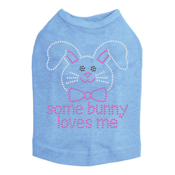 Some Bunny Loves Me Pink Rhinestone Dog Tank - Bark Label