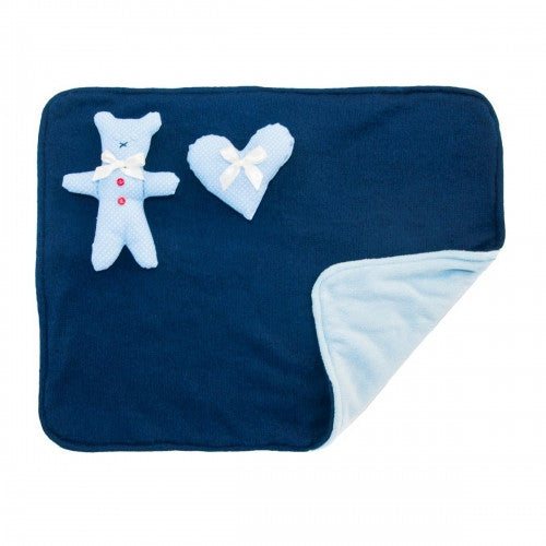 Blue Dotty Dog Blanket With Toys - Bark Label