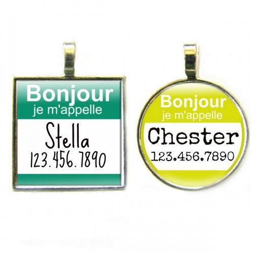 Bonjour Hello My Name Is Dog ID Tag - Bark Label