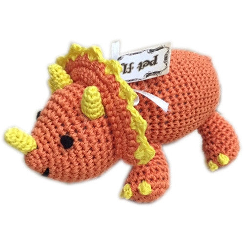 Bop The Triceratops Organic Cotton Dog Toy - Bark Label