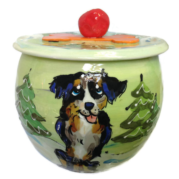 Border Patrol/Border Collie Dog Treat Jar - Bark Label