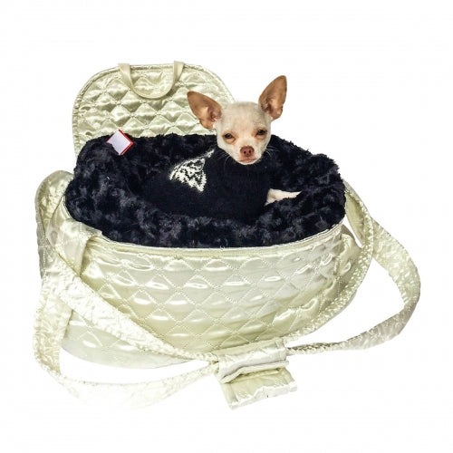 Brit Quilted Ivory Satin Dog Carrier - Bark Label