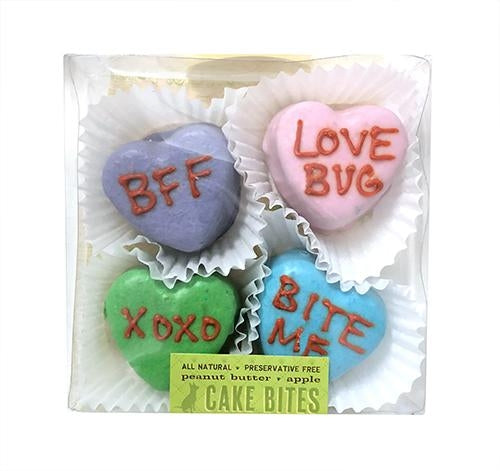 Candy Heart Cake Bites Dog Treats Box - Bark Label