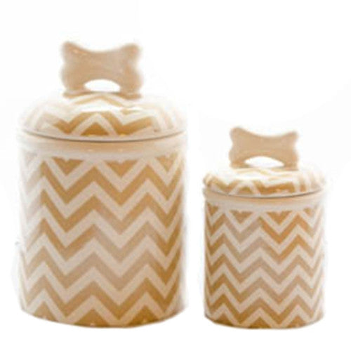 Chevron Dog Treat Jar - Bark Label
