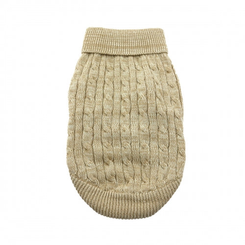 Combed Cotton Oatmeal Cable Knit Dog Sweater - Bark Label