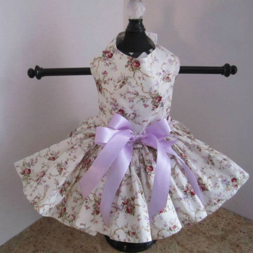 Cream With Lavender Roses Dog Dress - Bark Label