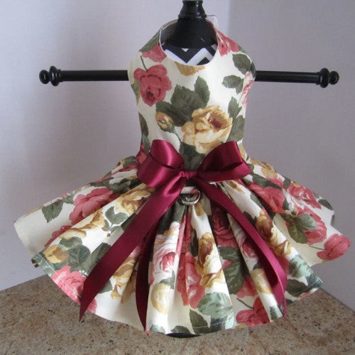 Cream With Roses Dog Dress - Bark Label
