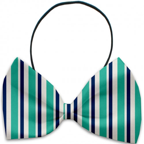 Aquatic Stripes Dog Bow Tie