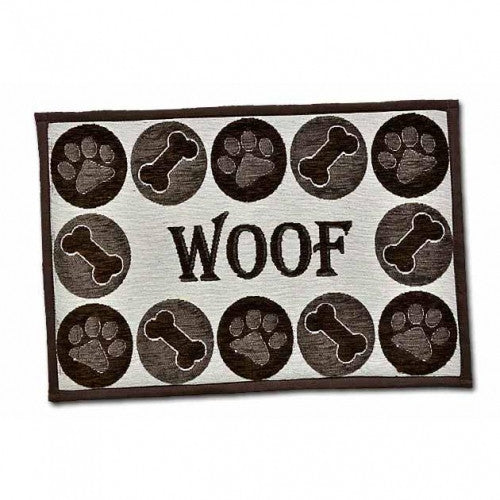 Woof Chenille Dog Placemat - Bark Label