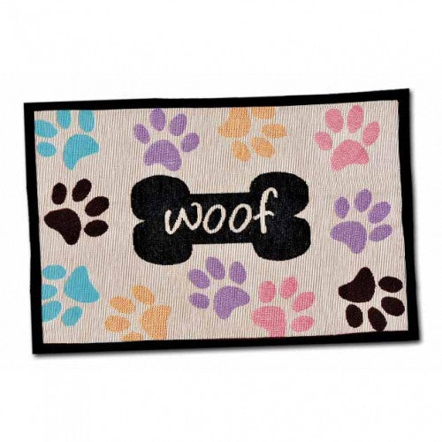 Woof Multi Paws Dog Placemat - Bark Label