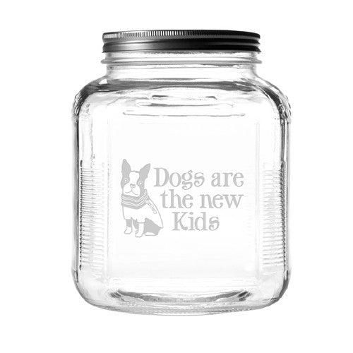 Dogs Are The New Kids Dog Treat Jar With Brushed Lid - Bark Label