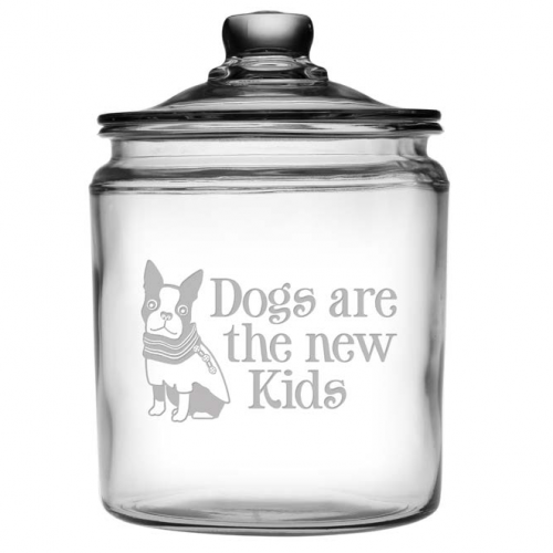 Dogs Are The New Kids Glass Treat Jar - Bark Label