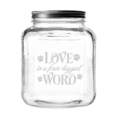 Four-Legged Word Dog Treat Jar With Brushed Lid - Bark Label