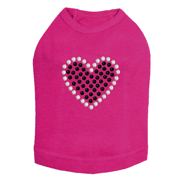 Black Rhinestone Heart Dog Tank - Bark Label
