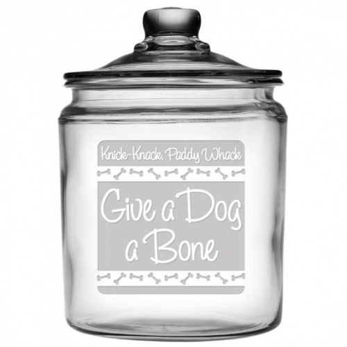 Give A Dog A Bone Glass Treat Jar - Bark Label