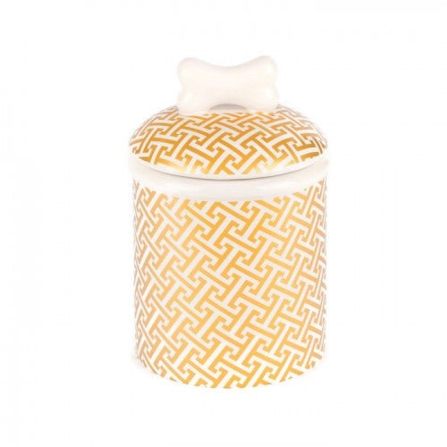 Gold Trellis Dog Treat Jar - Bark Label