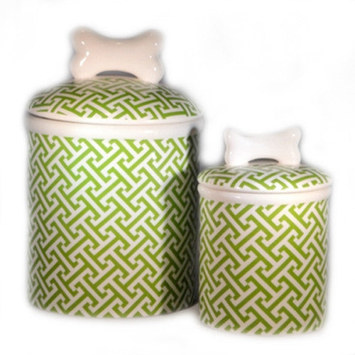 Green Trellis Dog Treat Jar - Bark Label