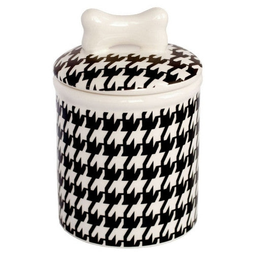 Houndstooth Dog Treat Jar - Bark Label