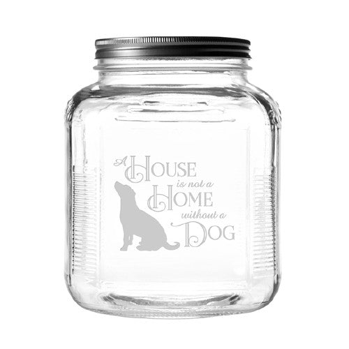 A House Is Not A Home Dog Treat Jar With Brushed Lid - Bark Label