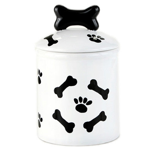 Bones and Paw Prints Dog Treat Jar - Bark Label