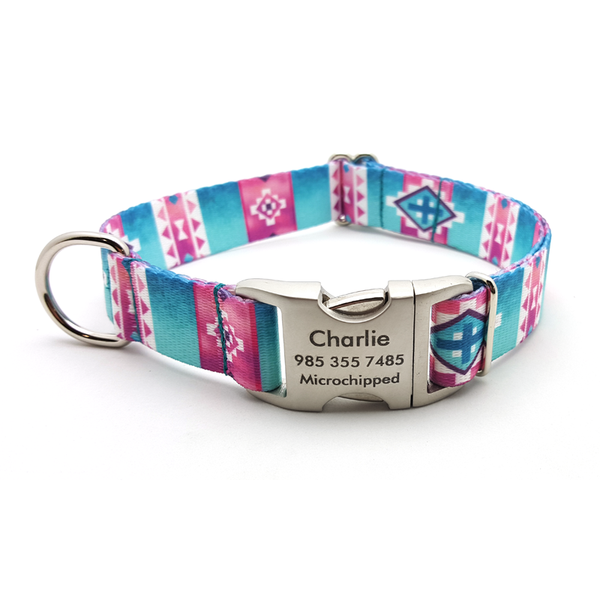 Albuquerque Polyester Webbing Dog Collar With Personalized Buckle - Bark Label