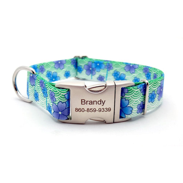 Blue April Blossoms Polyester Webbing Dog Collar With Personalized Buckle - Bark Label