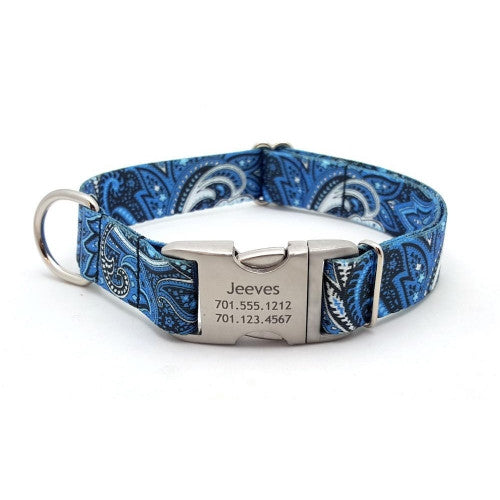 Blue Paisley Polyester Webbing Dog Collar With Personalized Buckle - Bark Label