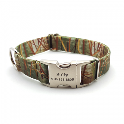 Camo Green Waterfowl Polyester Webbing Dog Collar With Personalized Buckle - Bark Label