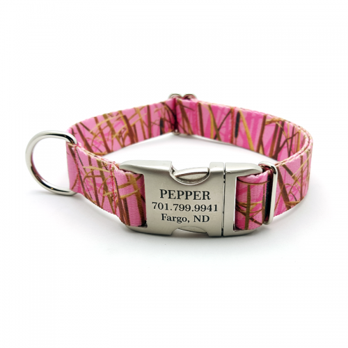 Camo Pink Waterfowl Polyester Webbing Dog Collar With Personalized Buckle - Bark Label