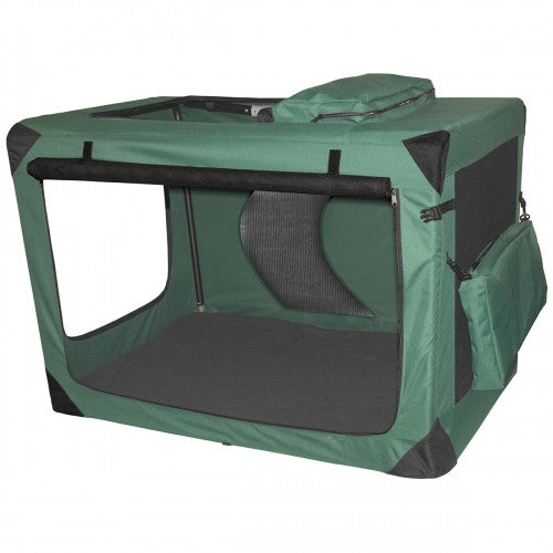 Portable Moss Green Soft Dog Crate - Bark Label