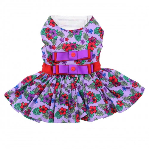 Purple And Red Floral Dog Dress/Matching Leash