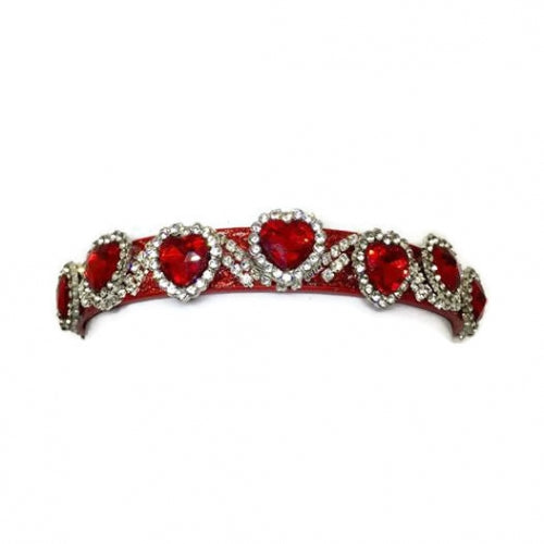 Valentine Red Hearts Crystal Dog Collar - Bark Label