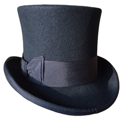 Black 7-inch Wool Top Hat (Available in 4 Sizes)
