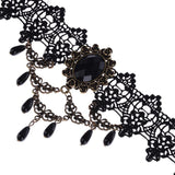 Steampunk Black Lace with Tassels Choker Necklace