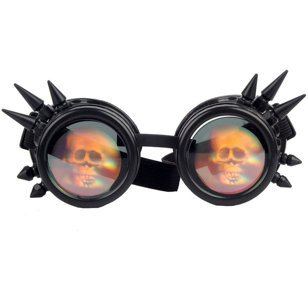 Steampunk Spiked Welding Style Goggles With Skull Hologram (6 Color Options)