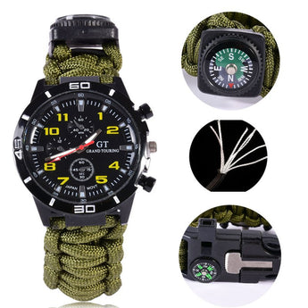 5in1 Tool Paracord Survival Watch With Fire Starter