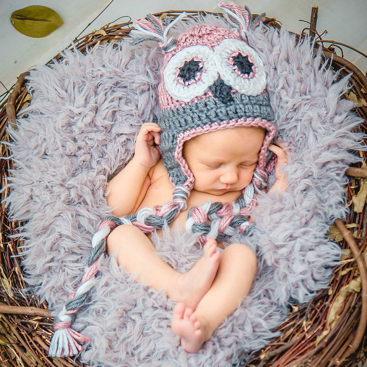 28ce6d32da7 Pink and Gray Baby Owl Hat