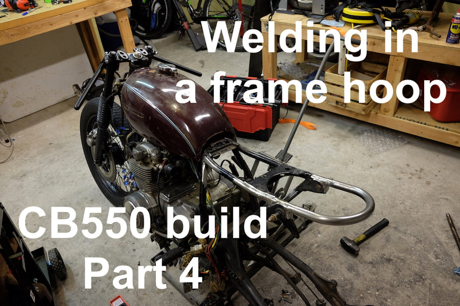 How to Build a CB550 Cafe Racer / Brat : Part 4 Welding in a Frame Hoop
