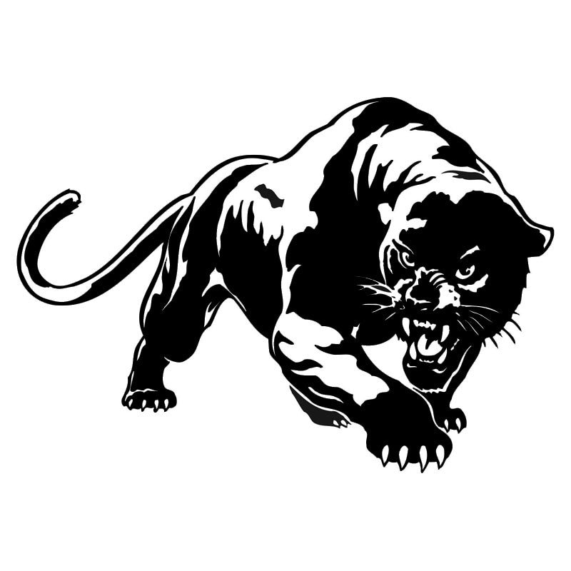 Angry panther car decal in black or silver free shipping black